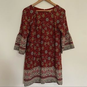 Red Bell Sleeve Ornate Floral Mini Shift Dress
